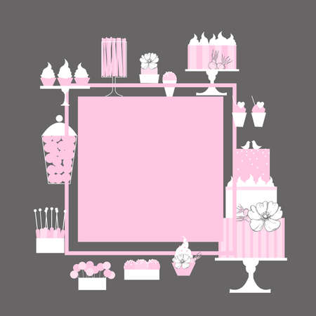 Wedding candy bar with cake. Dessert table. Vector frame. Illustration