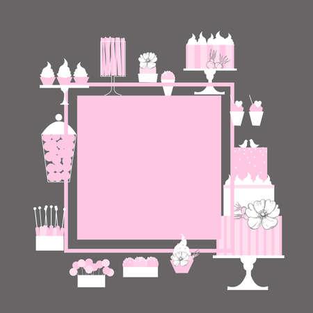 Wedding candy bar with cake. Dessert table. Vector frame. 向量圖像