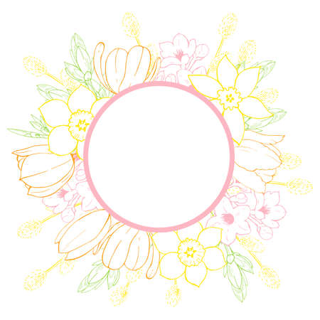 Vector floral frame with hand-drawn spring flowers. 向量圖像