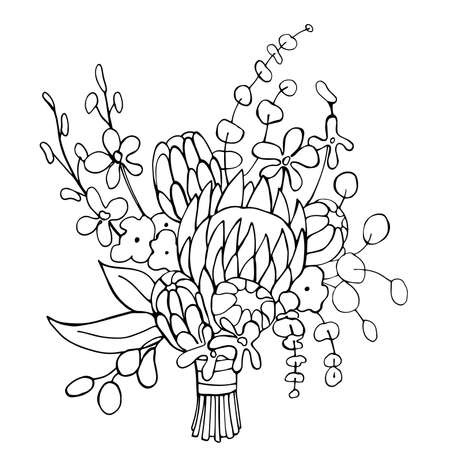 Hand-drawn tropical wedding bouquet.Vector sketch illustration. 向量圖像