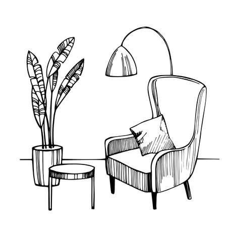 Interior of living room. Vector sketch illustration. 向量圖像