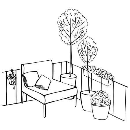 Armchair and plants on balcony. Vector sketch illustration 向量圖像