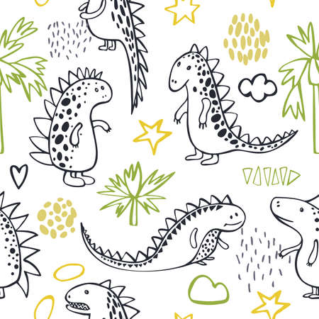 Cute dinosaurs on white background. Vector seamless pattern.