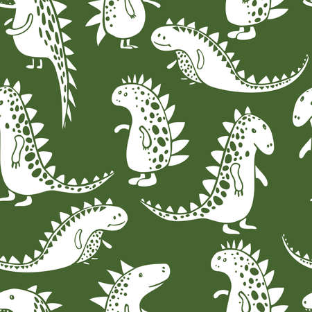 Cute dinosaurs on a green background. Vector seamless pattern.