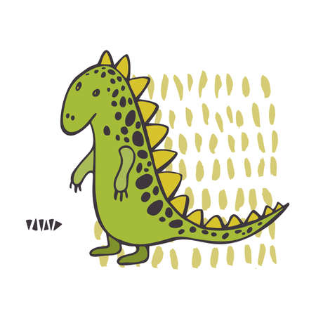 Cute dinosaurs on white background. Vector sketch illustration.