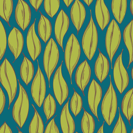 Hand drawn leaves. Vector seamless pattern. Illustration