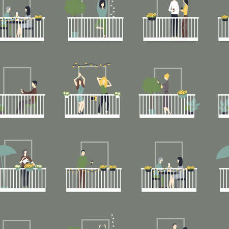 People relax on the balconies. Vector seamless pattern. Illustration