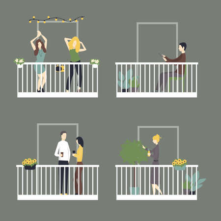 People relax on the balconies. Vector illustration.