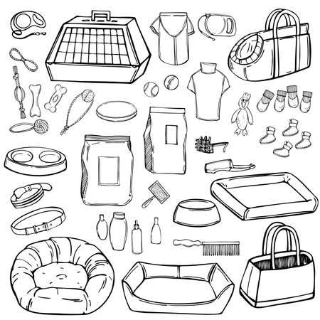 Hand drawn dog stuff set. Toys, food, and pet care accessories. Vector sketch illustration. Illustration