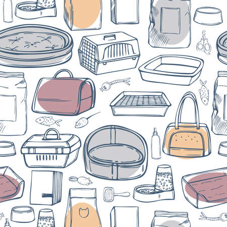 Hand drawn cat stuff set. Toys, food, and pet care accessories. Vector seamless pattern.