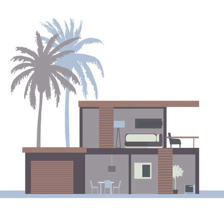 Modern two-story house with a garage.Vector illustration