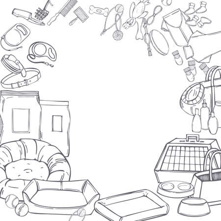 Hand drawn dog stuff set. Toys, food, and pet care accessories. Vector background. Sketch illustration. Illustration