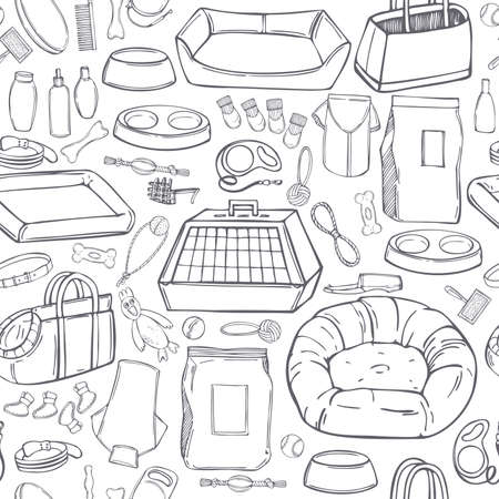 Hand drawn dog stuff set. Toys, food, and pet care accessories. Vector seamless pattern.