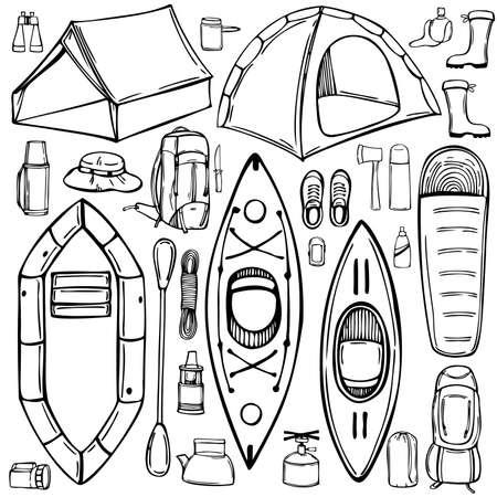 Hand drawn camping items set. Camping tents and boats. Vector sketch illustration.