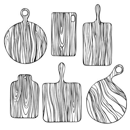 Hand drawn wooden cutting boards. Vector sketch illustration