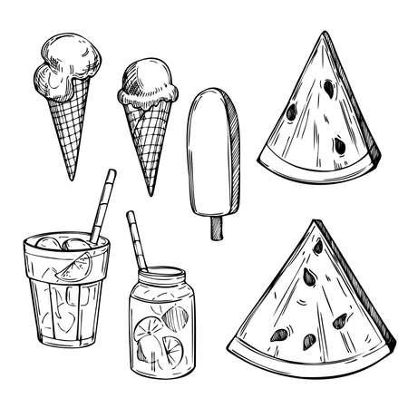 Hand drawn summer food and drinks. Lemonade, watermelon and ice cream. Vector sketch illustration.