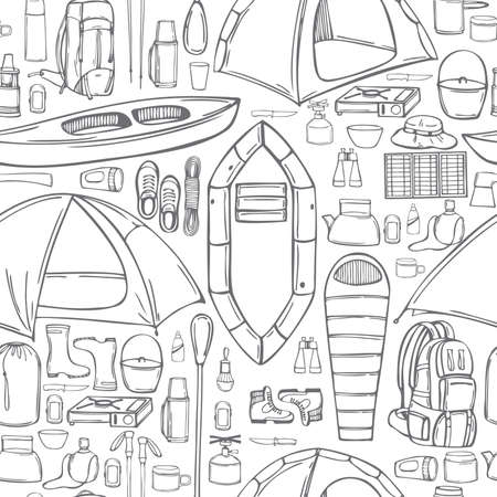 Hand drawn camping items set. Traveler backpack with survivor items and and other stuff for camping. Vector seamless pattern 일러스트