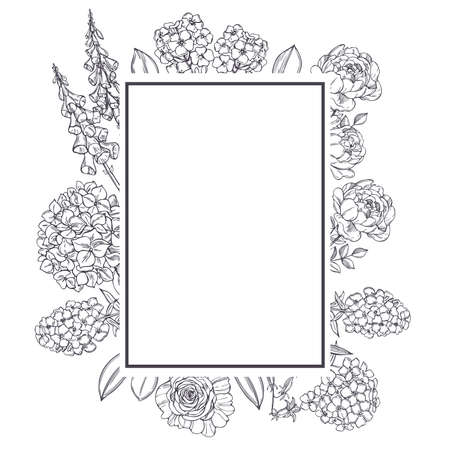 Vector frame with hand drawn garden flowers. Sketch illustration.