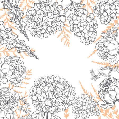 Floral background with hand drawn garden flowers and herbs. Illustration