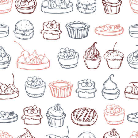 Hand drawn bakery products. Cookies, cupcakes. Vector seamless pattern
