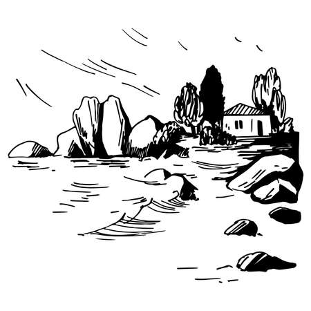 Hand drawn landscape with house on the coast. Vector sketch illustration