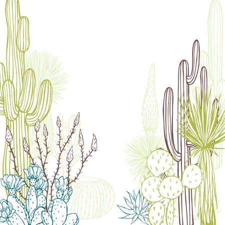 Desert plants, cacti. Vector background. Sketch illustration. Ilustración de vector