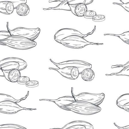 Hand drawn shallot onion (Allium ascalonicum). Vector seamless pattern