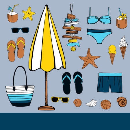 Summer vacation. Beach umbrella, starfish, flip flops, sunglasses, seashells. Vector illustration.