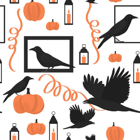 Halloween pattern with birds and pumpkins.