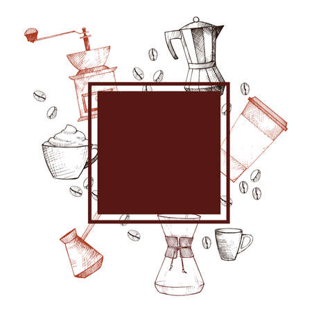Vector frame with coffee.Hand-drawn illustration.