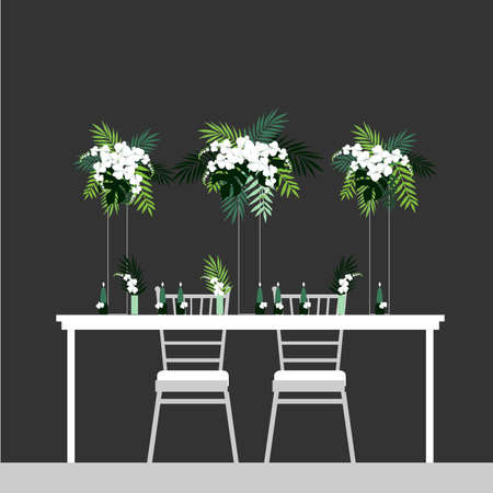 Wedding table decoration. Table for bride and groom. Vector illustration.