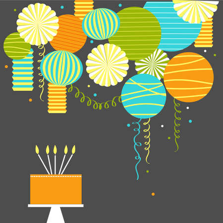 Birthday cake with candles. Vector background with paper Pom Poms, lanterns and garlands. Ilustração