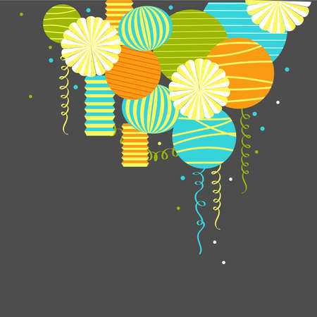 Vector background with paper Pom Poms, lanterns and garlands.