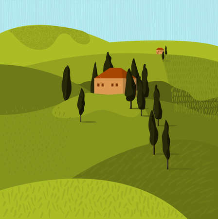 Tuscan landscape. House in the trees. Vector illustration 矢量图像