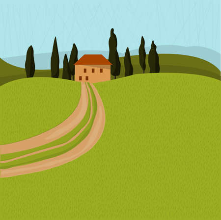 Tuscan house in the trees. Landscape with a road. Vector illustration 免版税图像 - 153295790