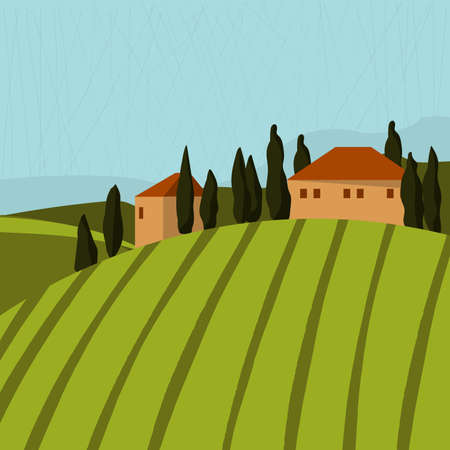 Tuscan landscape with houses and trees. Vector illustration