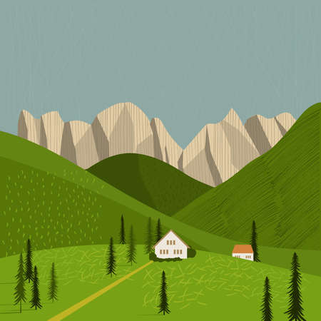 Alps.Houses in the mountains Vector illustration. Vecteurs