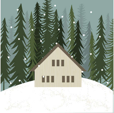 Hut in winter forest. Vector illustration. Stock Illustratie