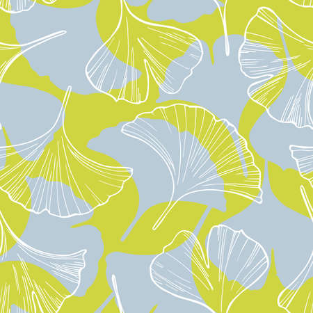 Ginkgo leaves. Vector seamless pattern