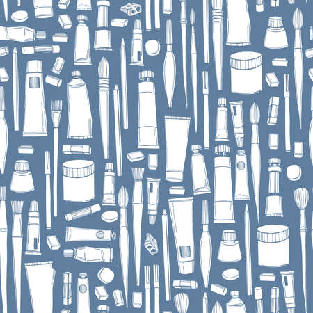 Hand drawn art tools and supplies set. Artistic paintbrushes and watercolor paints. Vector seamless pattern.