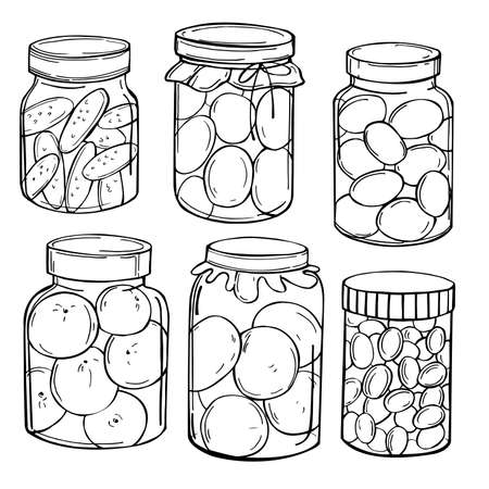 Hand drawn jars of pickles and jam. Vector sketch illustration.