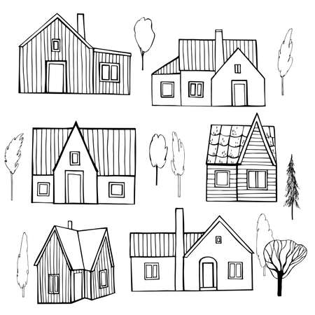 Hand drawn private houses. Vector sketch illustration. Vetores