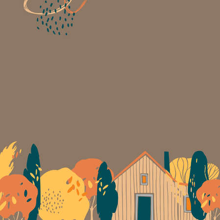 Hand drawn autumn background with trees and house. Vector sketch illustration. 矢量图像