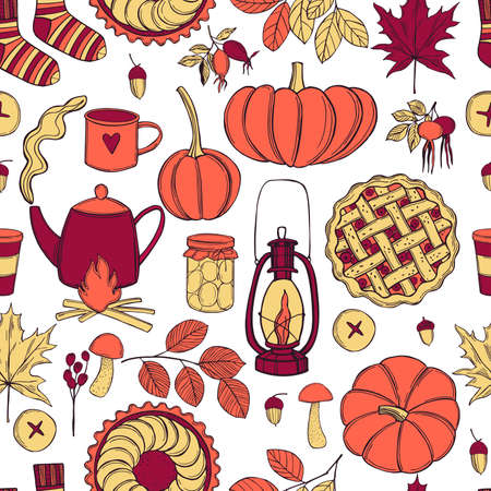 Vector pattern with pumpkins, drinks and pies. Autumn mood. Sketch illustration.