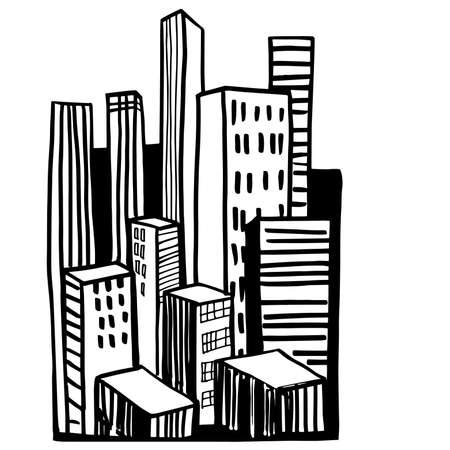 Hand drawn skyscrapers. Cityscape background.Vector sketch illustration.