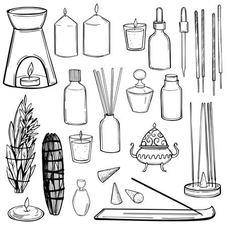 Aromatherapy, incense sticks. Vector sketch illustration. Vettoriali