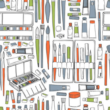 Hand drawn art tools and supplies set. Artistic paintbrushes and watercolor paints. Vector seamless pattern. 免版税图像 - 157998933