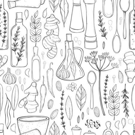 Hand drawn spices and herbs. Vector seamless pattern. Imagens - 157998957