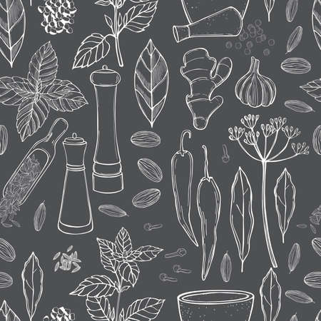 Hand drawn spices and herbs. Vector seamless pattern Imagens - 157998962
