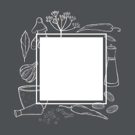 Vector frame with hand drawn spices and herbs. Sketch illustration. Ilustracje wektorowe